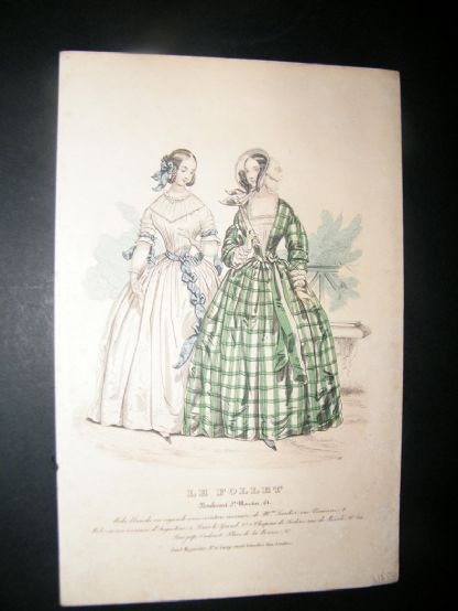 Le Follet C1840's Hand Coloured Fashion Print 857 | Albion Prints